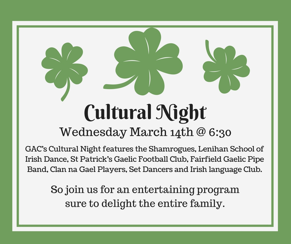 Cultural Night ~ March 14th @ 6:30pm